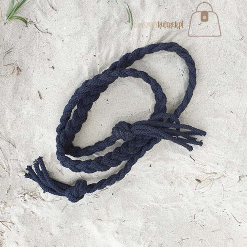 pasek pleciony sznur czarny detal