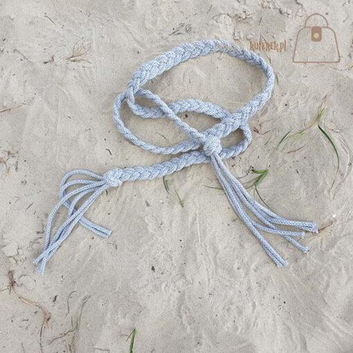 pasek pleciony sznur szary detal