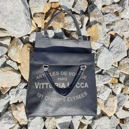 Torebka Vittoria Lucca czarna otwarta