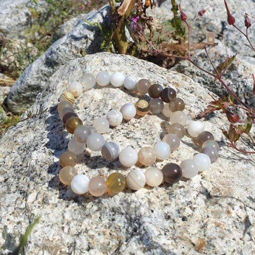 Agat botswana bransoletka komplet kamien