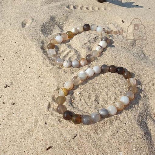 Agat botswana bransoletka komplet piasek
