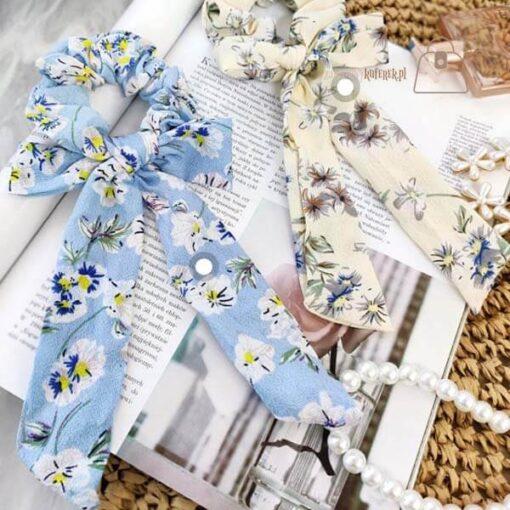 Gumka do włosów apaszka flower błękit detal