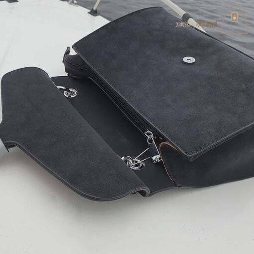 Czarna torebka damska kuferek zamel