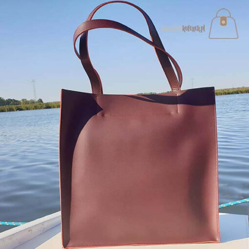 Bordowa skórzana torba shopper Laura Biaggi