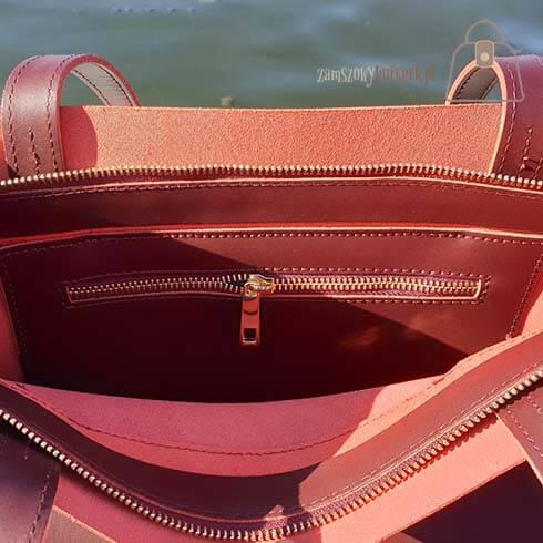Bordowa skórzana torba shopper Laura Biaggi kieszonka