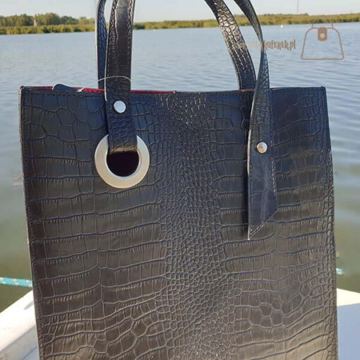 Laura Biaggi skórzany shopper detal