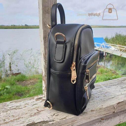 Czarny plecak 2w1 detal