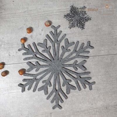 Podkładka filcowa śnieżynka talerz 02 detal