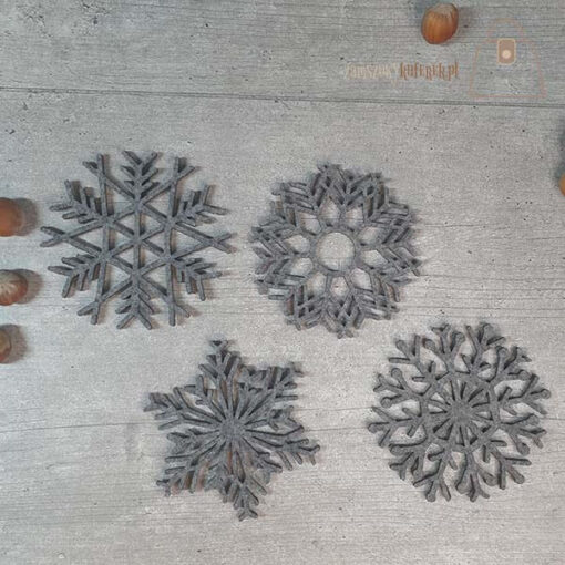 Podkładka filcowa śnieżynka kubek 02 komplet