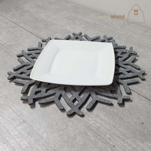 Podkładka filcowa śnieżynka talerz 01 talerz