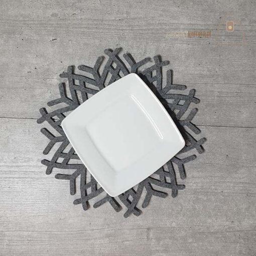 Podkładka filcowa śnieżynka talerz 01 talerz góra