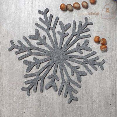 Podkładka filcowa śnieżynka talerz 02