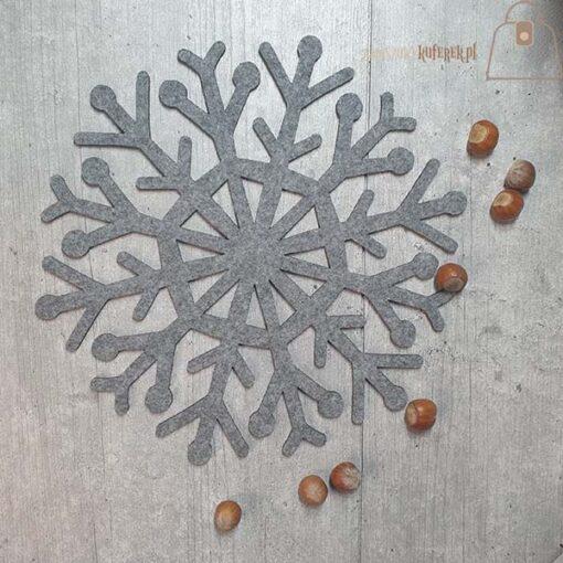 Podkładka filcowa śnieżynka talerz 03