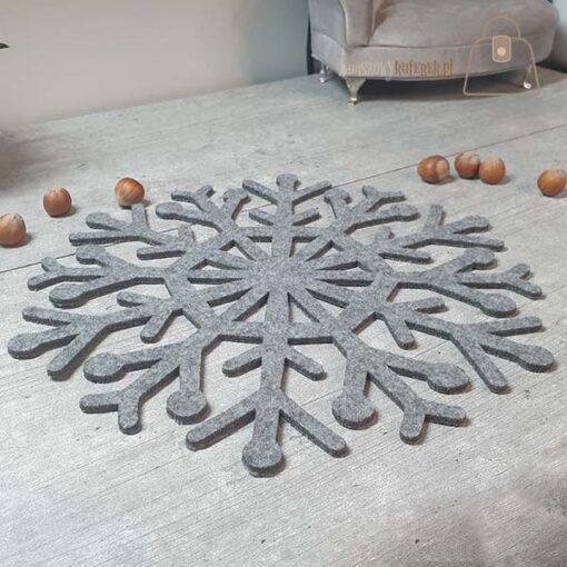 Podkładka filcowa śnieżynka talerz 03 bok