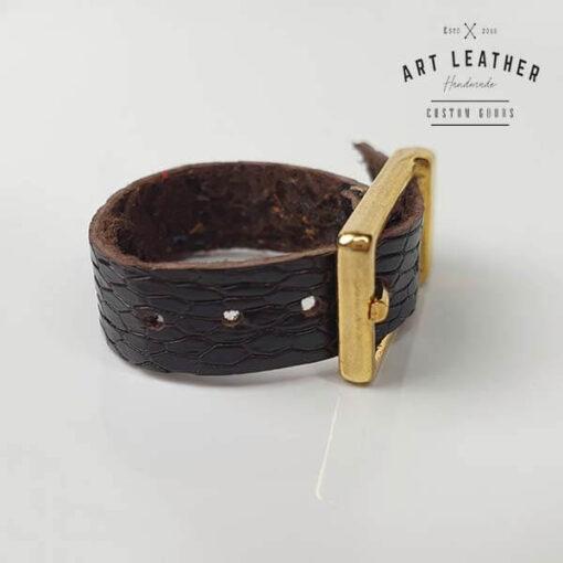 Struś2 skórzany pierścionek złota klamra dziurka