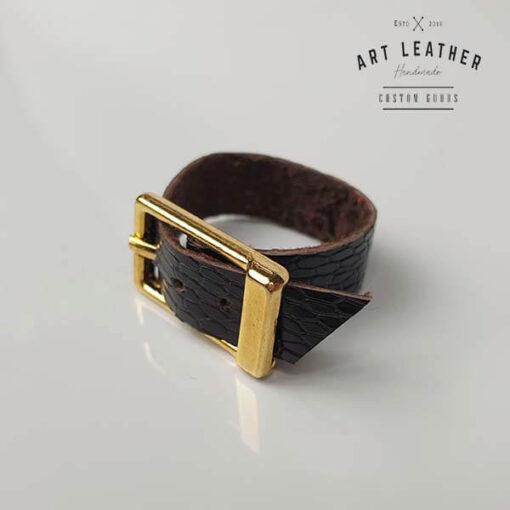 Struś2 skórzany pierścionek złota klamra klamra