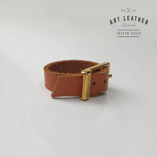 Brąz skórzany pierścionek złota klamra klamra