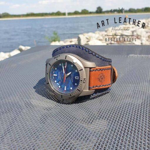 Skórzany pasek zegarka dwuczęściowy handmade