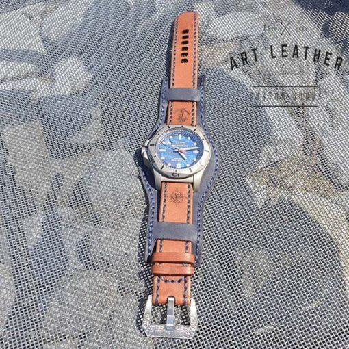 Skórzany pasek zegarka dwuczęściowy handmade cały