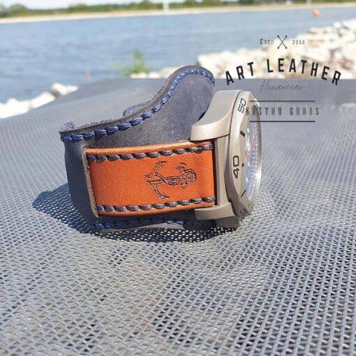 Skórzany pasek zegarka dwuczęściowy handmade detal