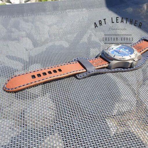 Skórzany pasek zegarka dwuczęściowy handmade dziurki