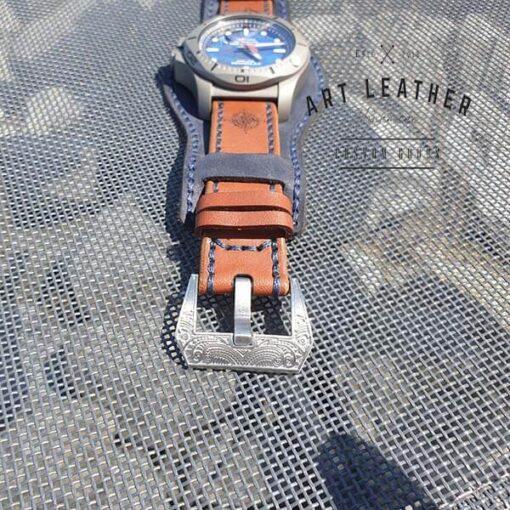 Skórzany pasek zegarka dwuczęściowy handmade klamra