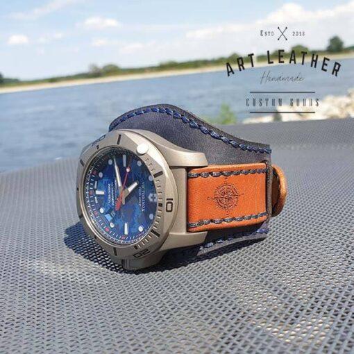 Skórzany pasek zegarka dwuczęściowy handmade koło