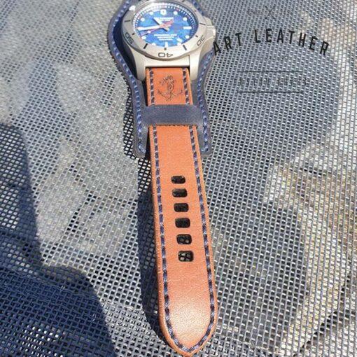Skórzany pasek zegarka dwuczęściowy handmade kotwica