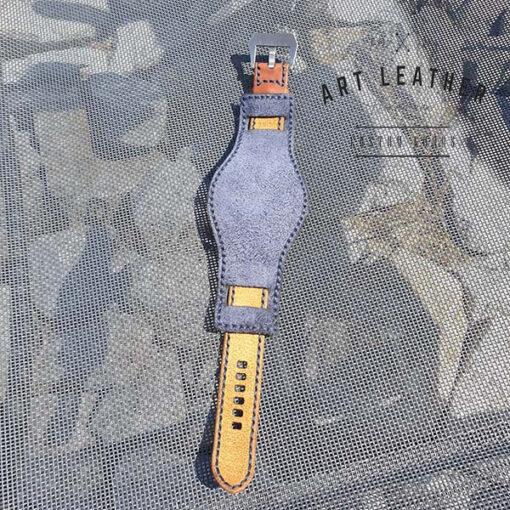 Skórzany pasek zegarka dwuczęściowy handmade tył