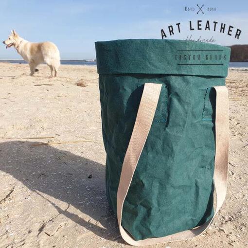 Torba z washpapy granatowa zielona pies