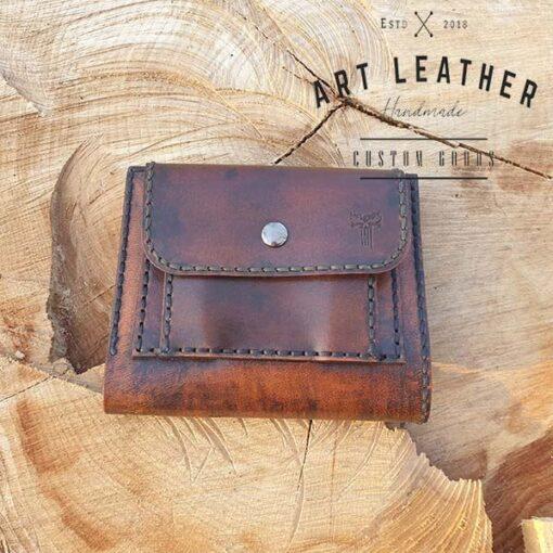 Skórzany portfel męski szyty ręcznie kieszonka