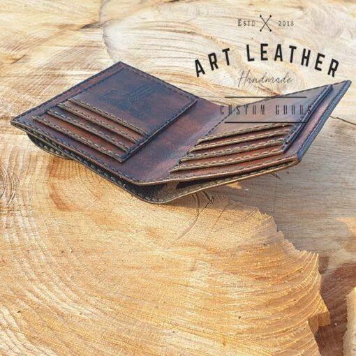 Skórzany portfel męski szyty ręcznie bank