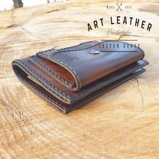 Skórzany portfel męski szyty ręcznie bok