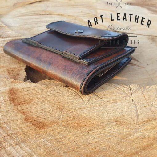 Skórzany portfel męski szyty ręcznie detal