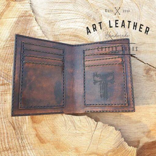 Skórzany portfel męski szyty ręcznie kieszonki