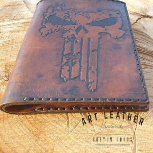 Skórzany portfel męski szyty ręcznie tłoczenie