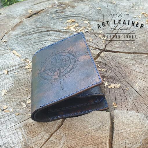 Skórzany portfel Róża Wiatrów dół