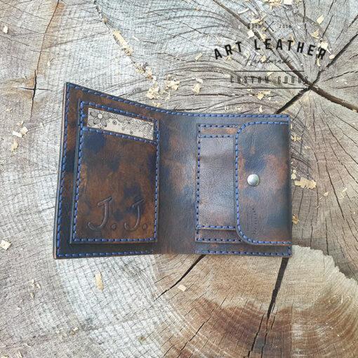 Skórzany portfel Róża Wiatrów kieszonki