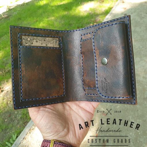 Skórzany portfel Róża Wiatrów środek