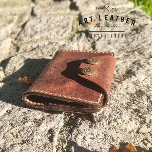 Mały portfel skórzany Handmade bok