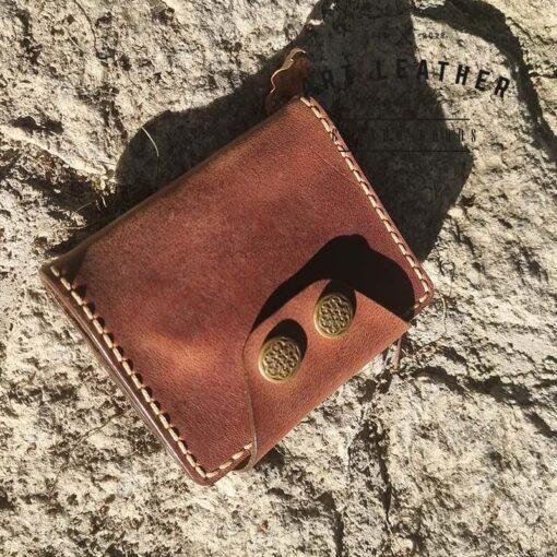 Mały portfel skórzany Handmade dół