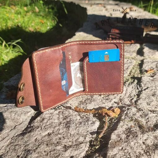 Mały portfel skórzany Handmade karta