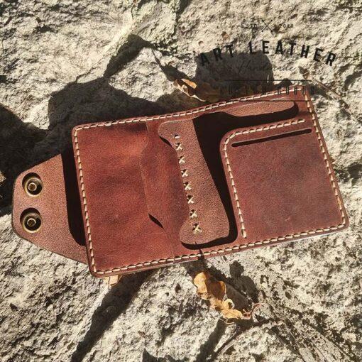 Mały portfel skórzany Handmade krzyżyk