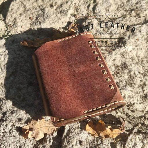 Mały portfel skórzany Handmade tył